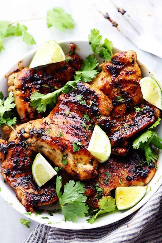 Grilled Honey Lime Cilantro Chicken in a white bowl.