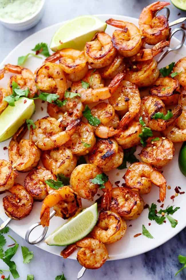 Grilled Spicy Lime Shrimp on a white plater.