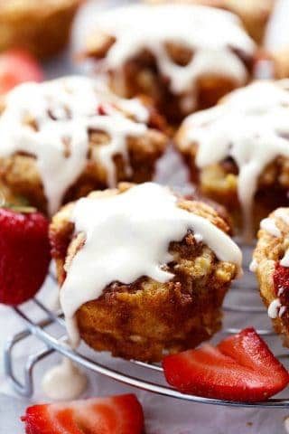 Strawberry Cinnamon Roll Muffins with a Cream Cheese Glaze