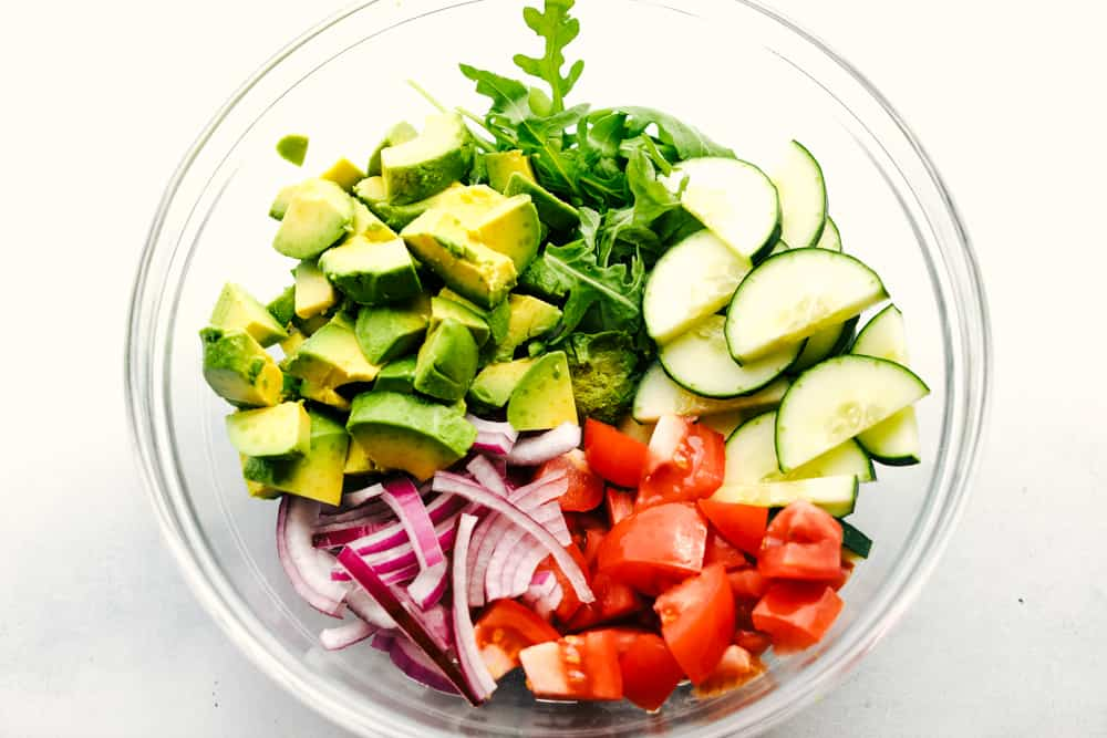 Avocado, Tomato and Cucumber Arugula Salad ingredients
