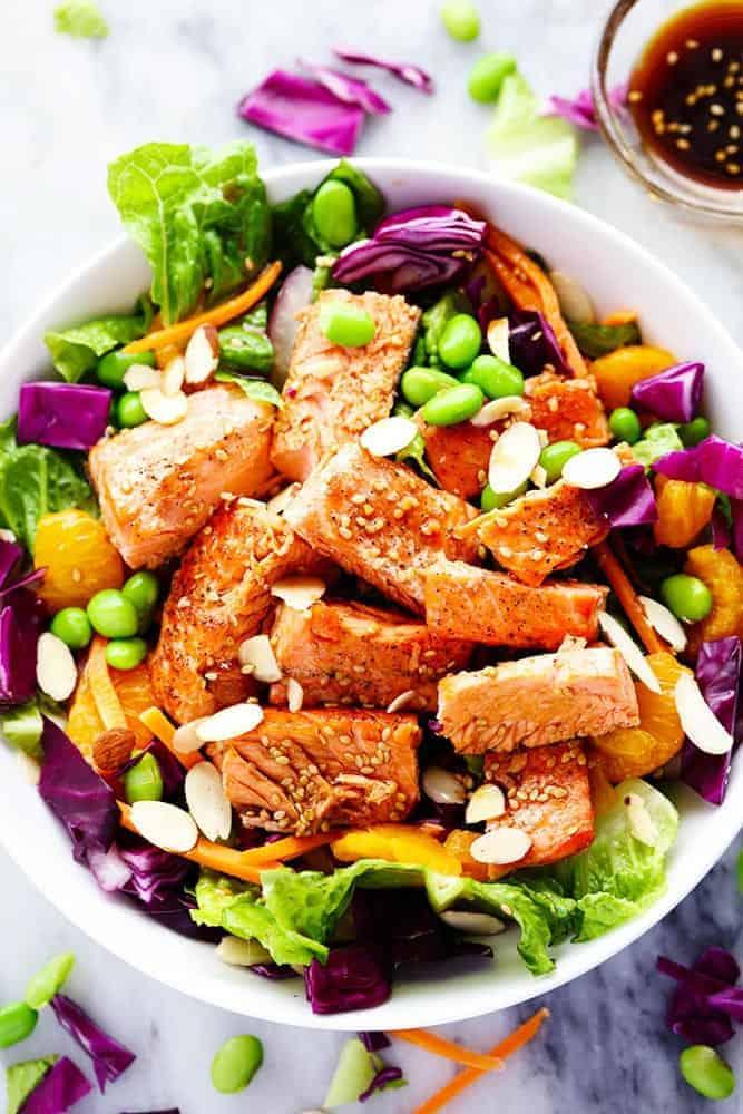 Asian Pan Seared Salmon Salad With Honey Sesame Dressing