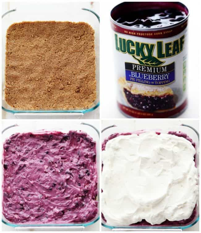Collage of photos showing the process of making the No Bake Creamy Blueberry Pecan Squares in a clear pan.