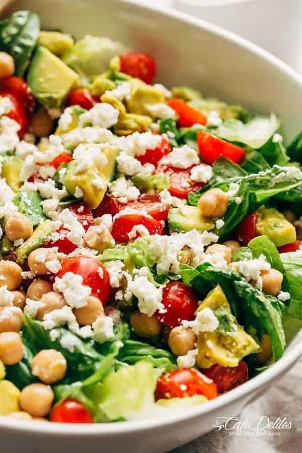 Balsamic Chickpea Avocado Feta Salad