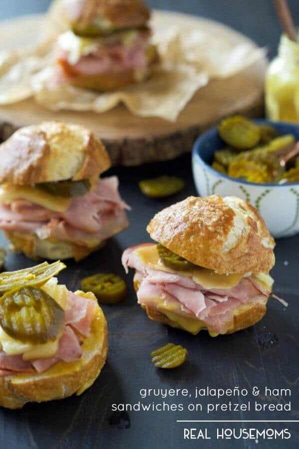 Gruyere, Jalapeño and Ham Sandwiches on Pretzel Bread(1)