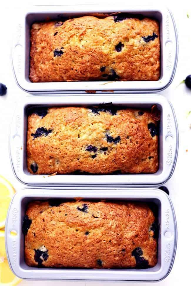Three loafs of Blueberry Zucchini Bread in the bread pan.