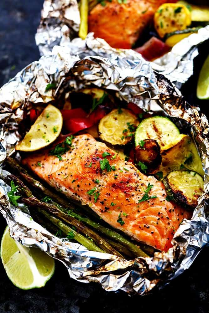 Grilled lime butter salmon in foil with summer veggies for How to grill fish in foil