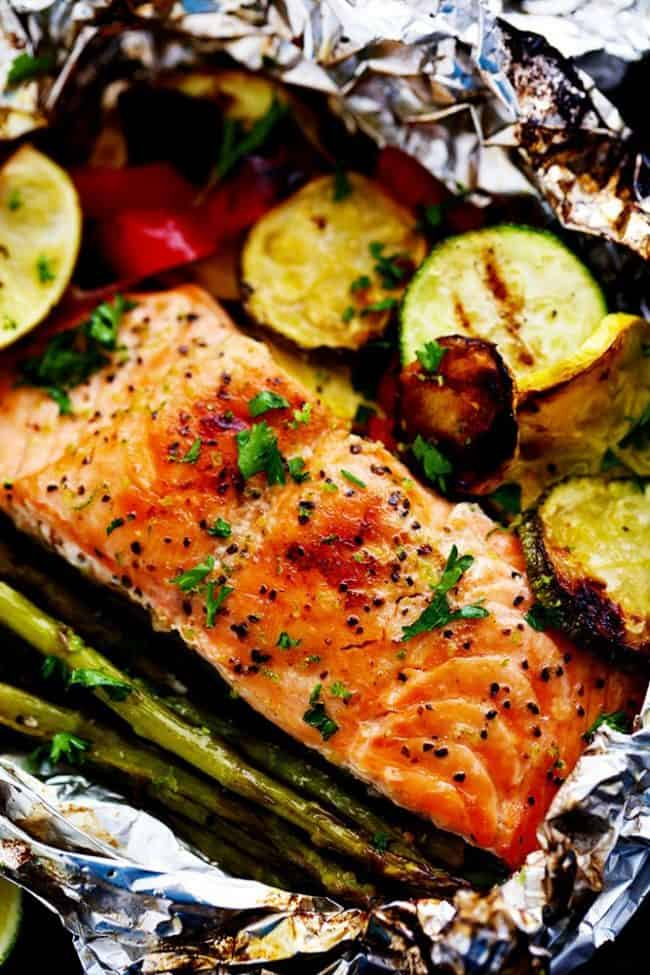 Close up photo of Lime Butter Salmon in Foil with Summer Veggies.