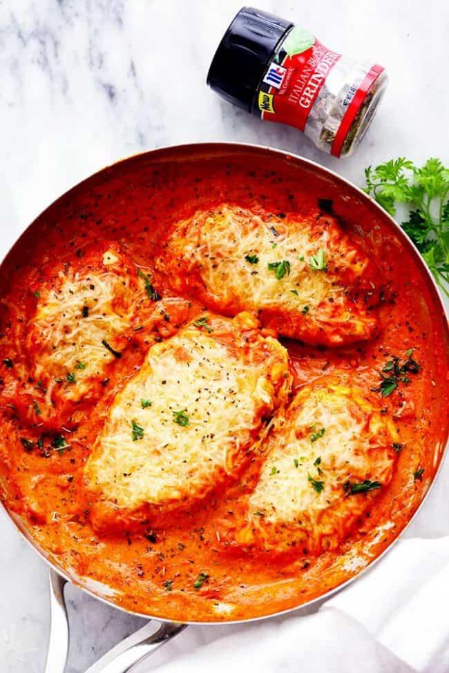 Creamy tomato italian parmesan chicken the recipe critic for Italian entree recipes