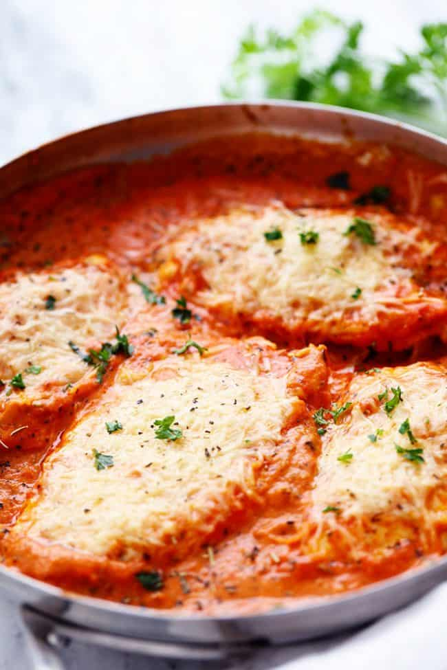 Creamy Tomato Italian Parmesan Chicken in a large pan.