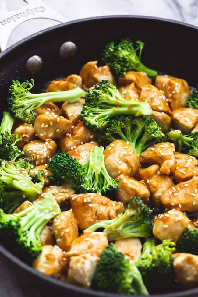 Skillet Sesame Chicken and Broccoli in a large skillet.
