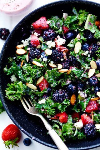 Triple Berry Kale Salad with Creamy Strawberry Poppyseed Dressing