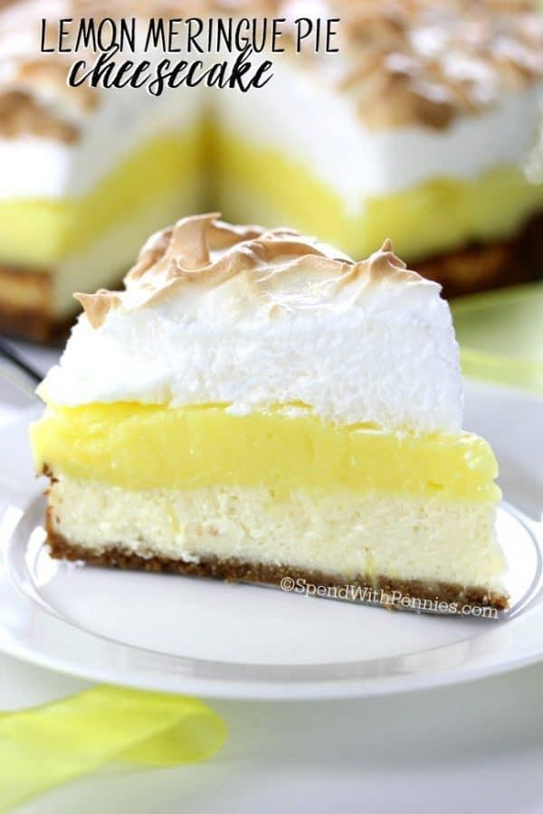Lemon Meringue Pie Cheesecake - Spend With Pennies