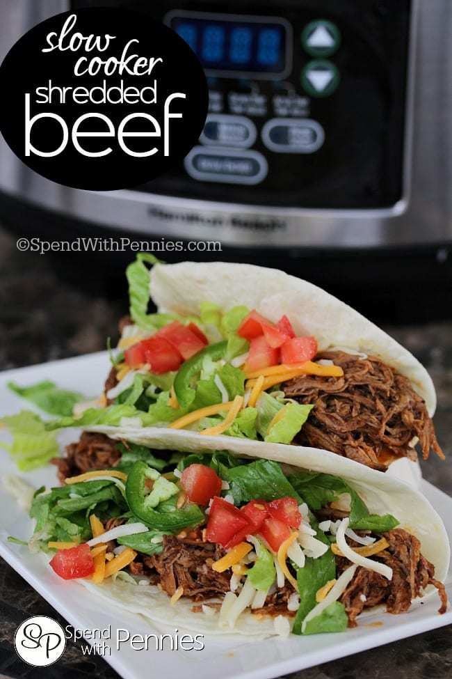 Slow Cooker Shredded Beef! Perfect for tacos, enchiladas and more!
