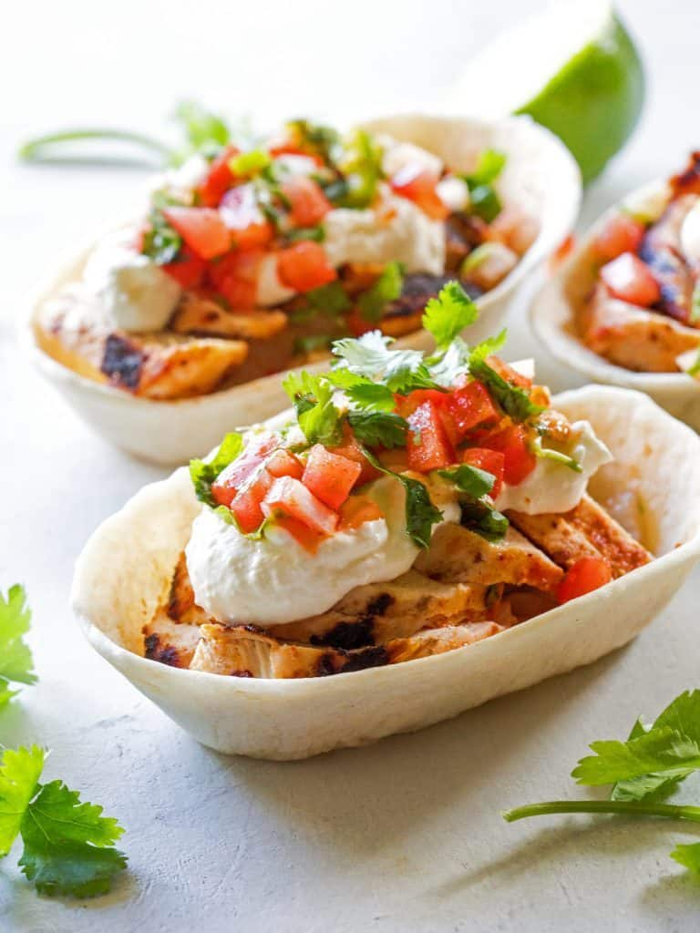 Grilled Chicken Tacos With Feta Cream
