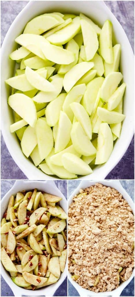 The process of making the apple crisp.  The first photo is the sliced apples the the last photo being the crumbs on the apples.