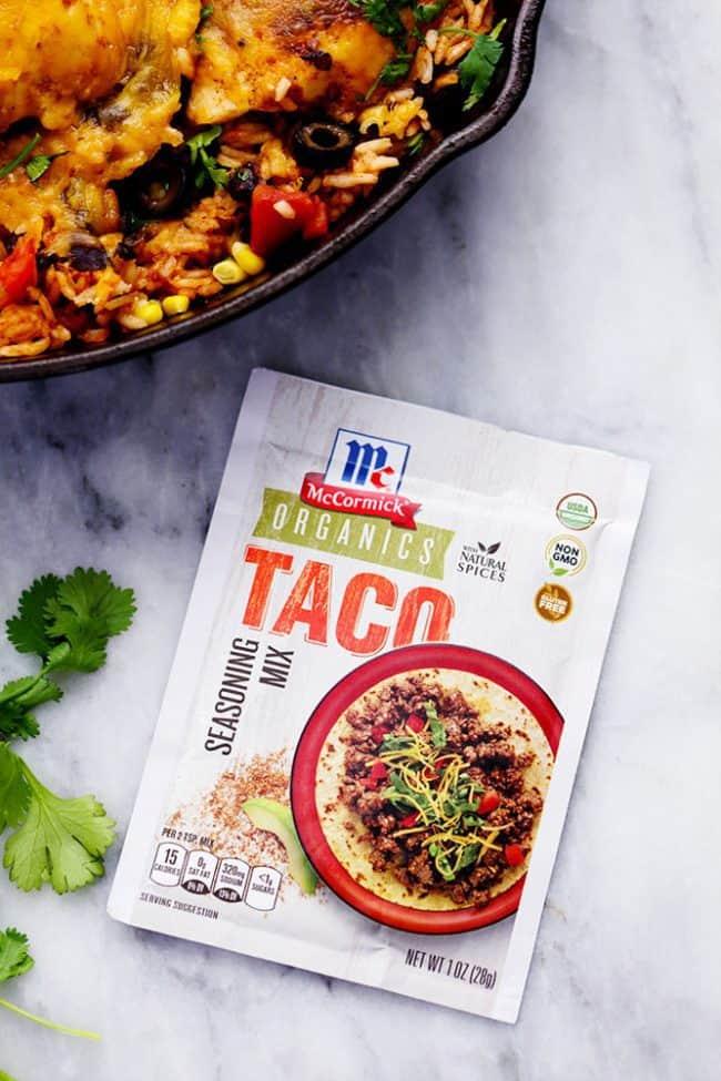 McCormick packet of organic taco seasoning.