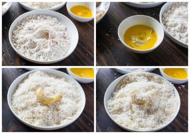 Process of making the coconut coating for Easy Baked Coconut Shrimp.
