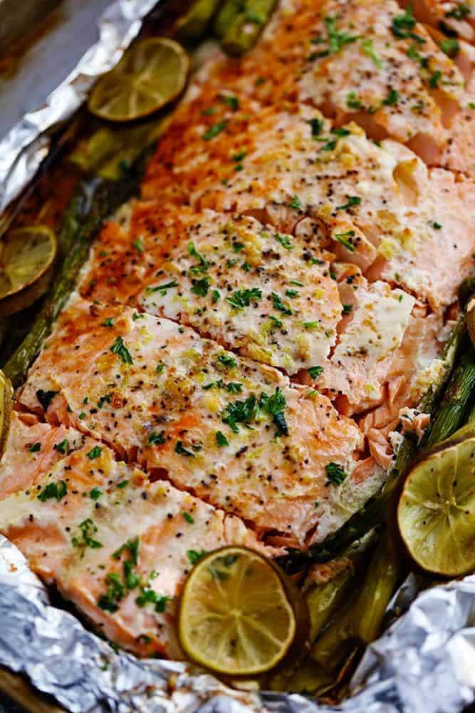 Buttery Garlic Lime Salmon With Asparagus In Foil The Recipe Critic