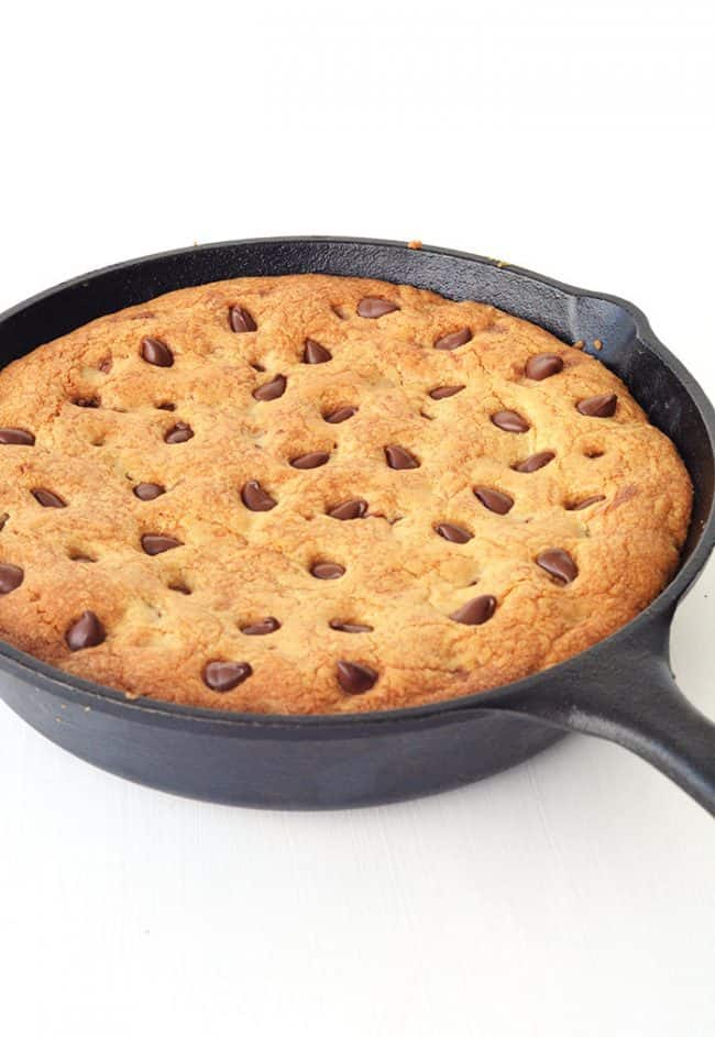 Nutella Stuffed Skillet Cookie in a skillet.