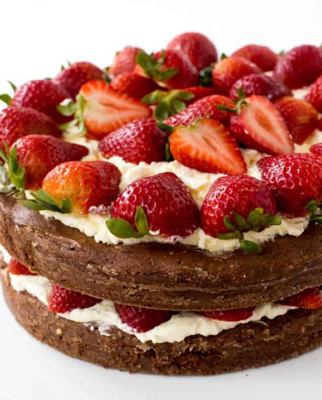 Brownie Strawberry Shortcake with fresh strawberries on top.