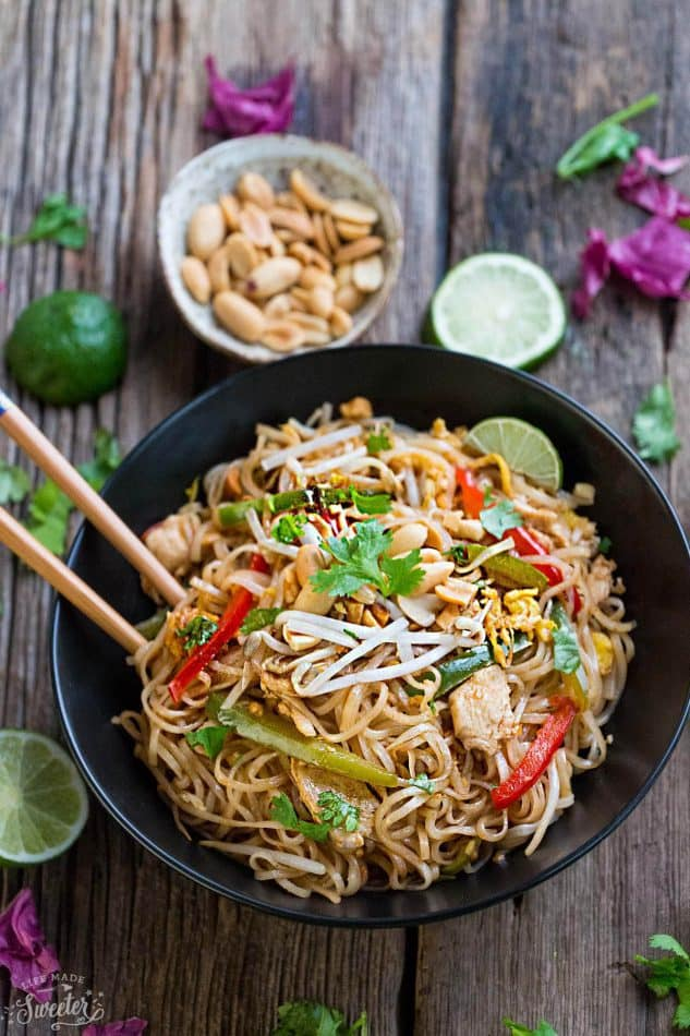 Chicken Pad Thai makes the perfect easy weeknight meal. Best of all, this gluten free recipe cooks up in just one pot (pan) and is full of the authentic Thai flavors we all love! Way better than any restaurant takeout!