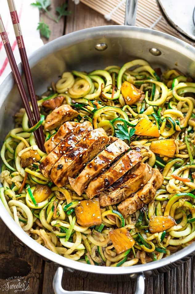 One Pot Teriyaki Chicken Zoodles Zucchini Noodles make the perfect easy low carb weeknight meal! Best of all so much better than takeout - only 30 minutes to make with just one pan to clean!