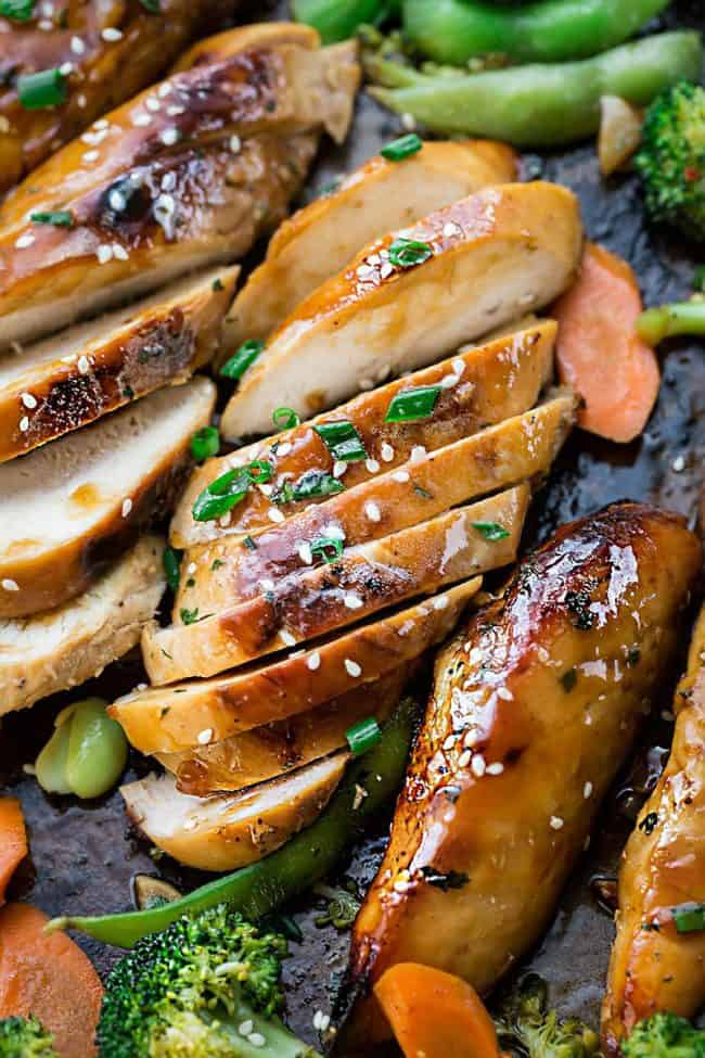 Sheet Pan Teriyaki Chicken sliced.