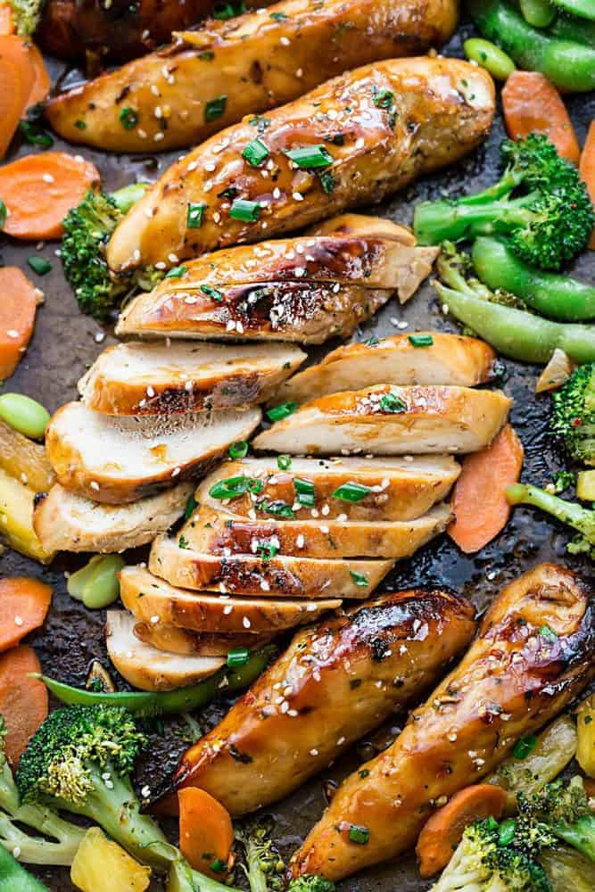 Sheet Pan Teriyaki Chicken with Vegetables on a tray.