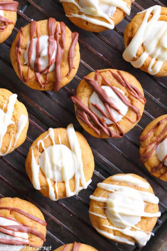 Pumpkin Thumbprint Cookies on a cooling rack.