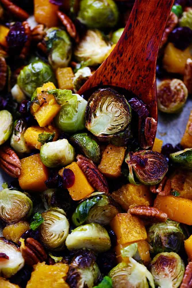 Maple Roasted Brussels Sprouts And Butternut Squash The