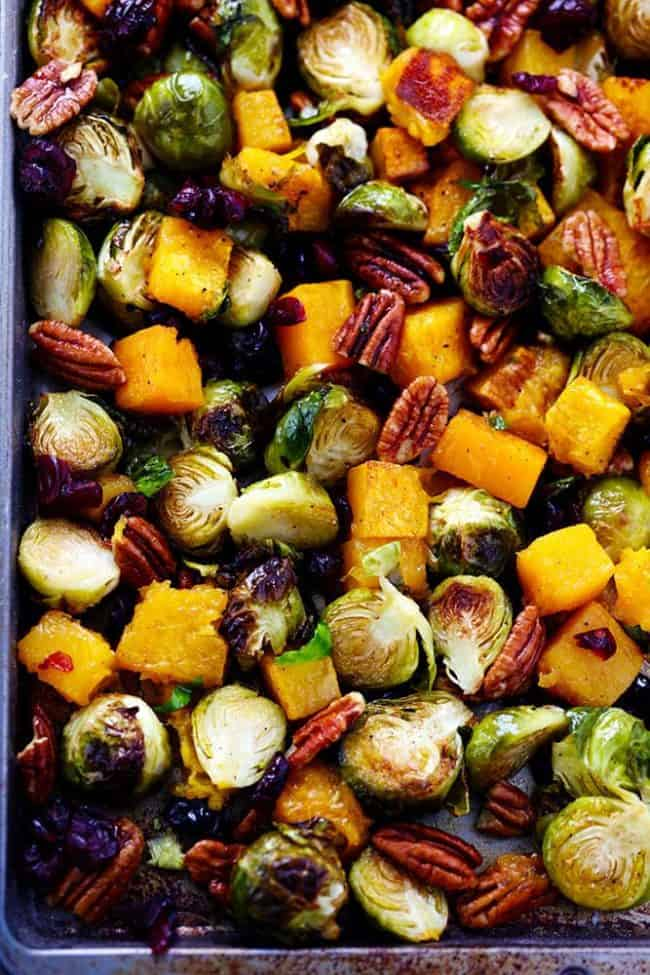 Maple Roasted Brussels Sprouts and Butternut Squash on a sheet pan.