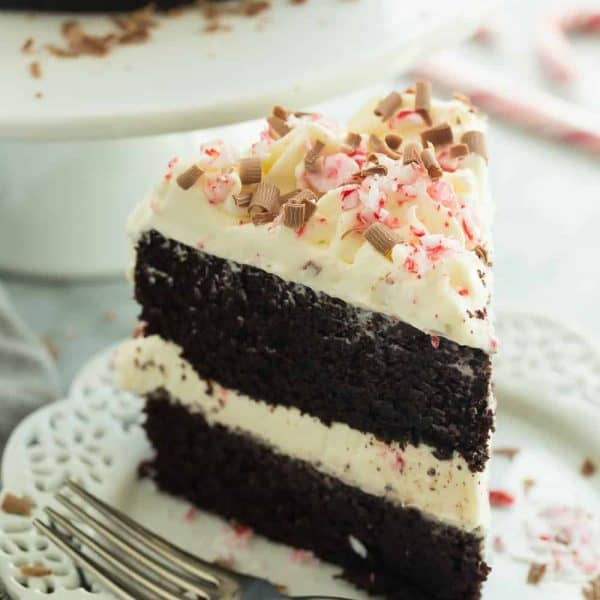 This Double Chocolate Peppermint Cake has two chocolate cake layers, white chocolate whipped cream and is finished off with crushed candy canes and chocolate shavings -- this is the dessert you want to bring to the Christmas party!