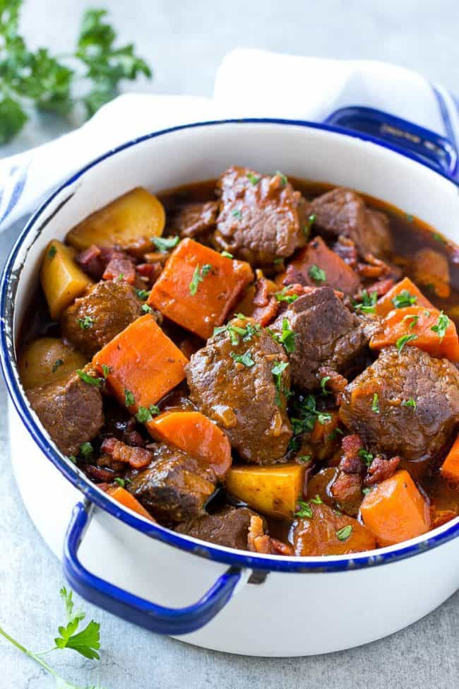 This Beef Stew Is Full Of Tender Meat Colorful Veggies And Plenty Of Smoky Bacon