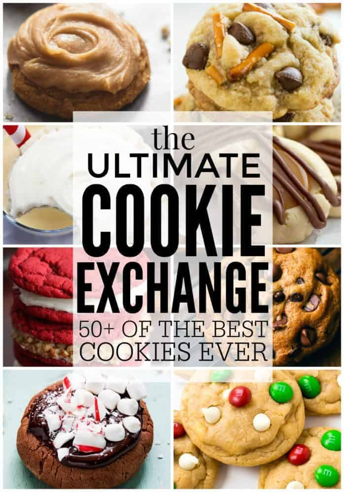 A collage of the ultimate cookie exchange cookies.