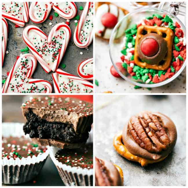 3 ingredient christmas treats peppermint white chocolate hearts rudolph noses thin mint cups easy turtles - No Bake Christmas Treats