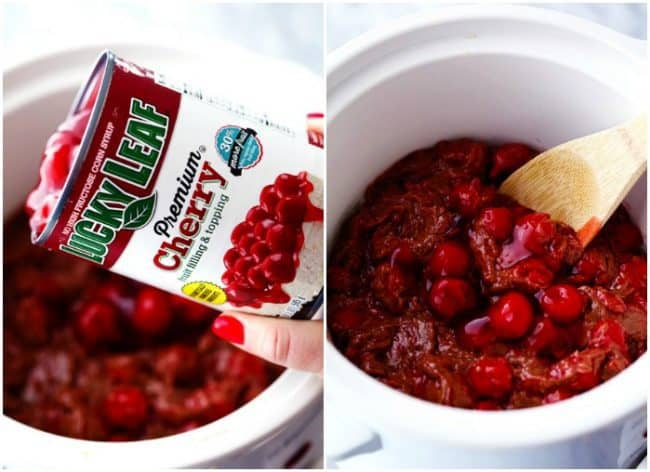 Two photos side-by-side. One on the left-hand side has lucky with premium cherry fruit filling in topping can being dumped out into the slow cooker. This second photo on the right hand side is a wooden spoon stirring the cherry fruit filling in topping sauce.