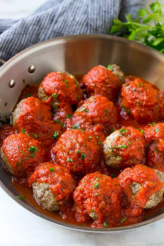 These mozzarella stuffed meatballs are a fun twist on the classic recipe - serve these meatballs as a party appetizer or over a big plate of spaghetti for a hearty meal!