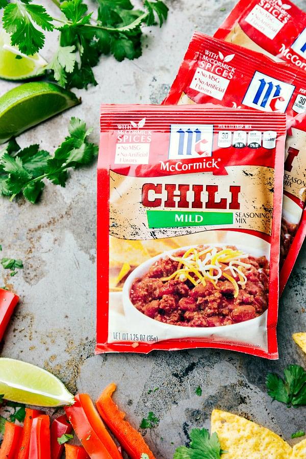 Chili seasoning packet.