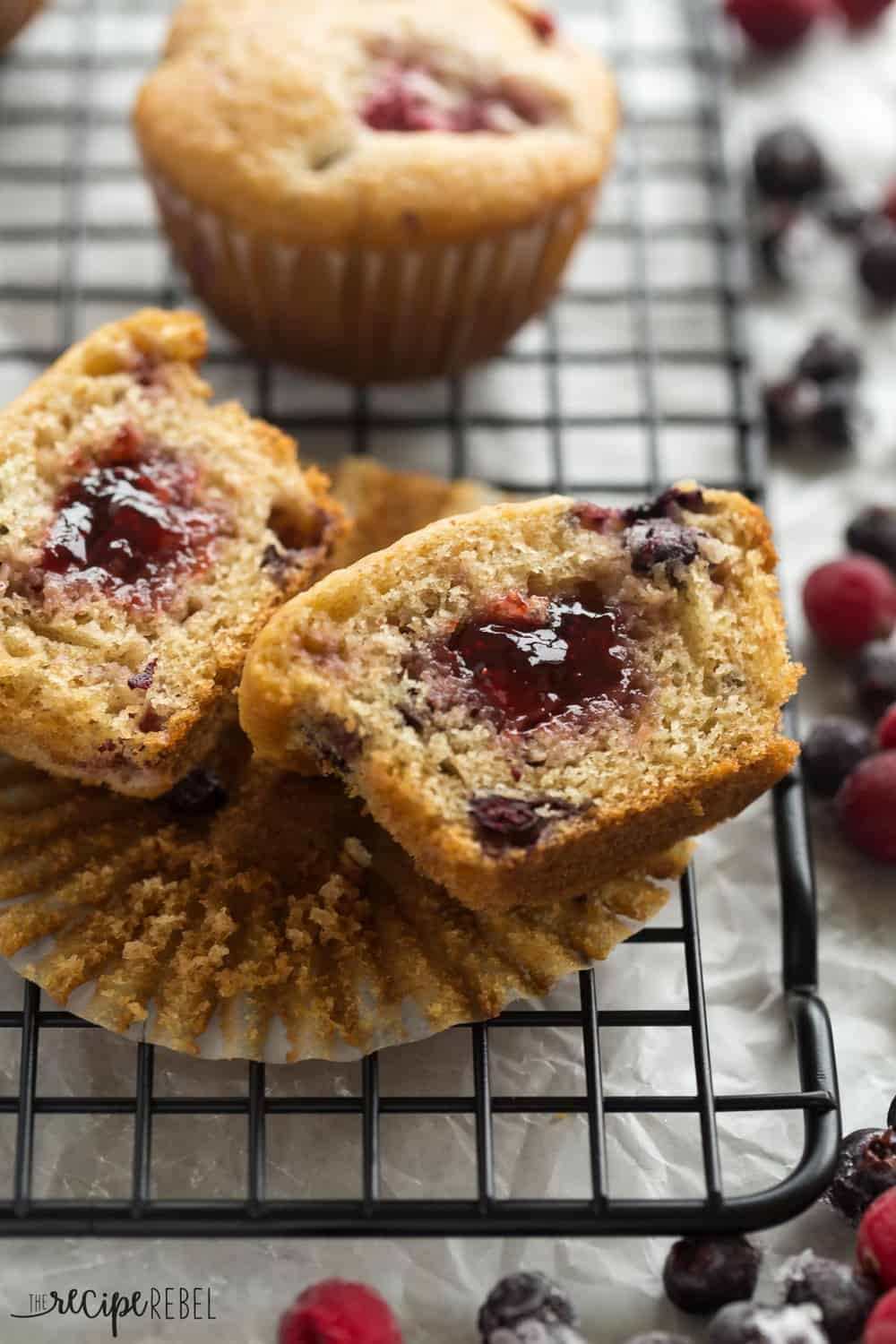 These Fruit Explosion Muffins cut in half to revel inside.