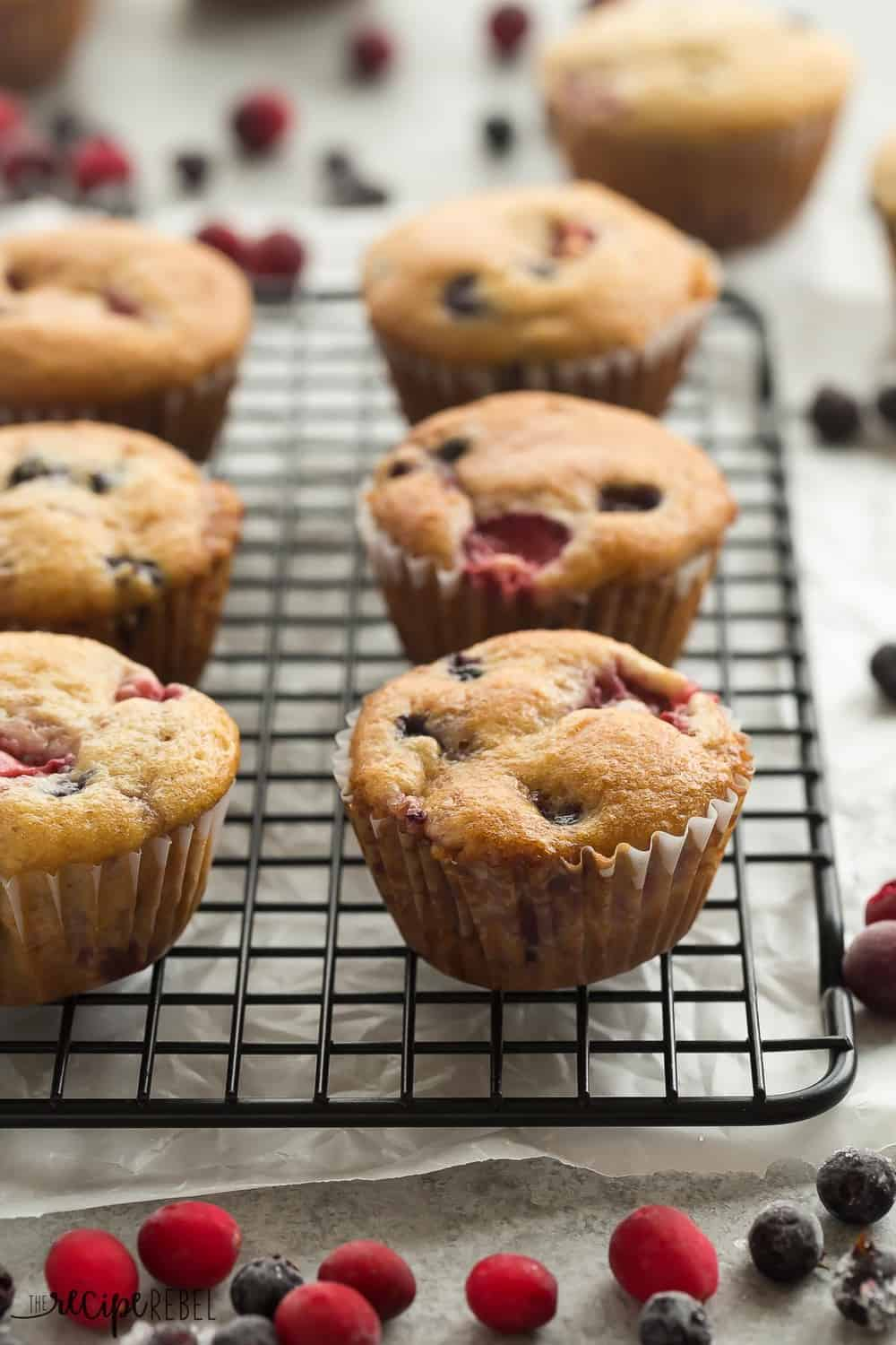 These Fruit Explosion Muffins on a cooling rack.