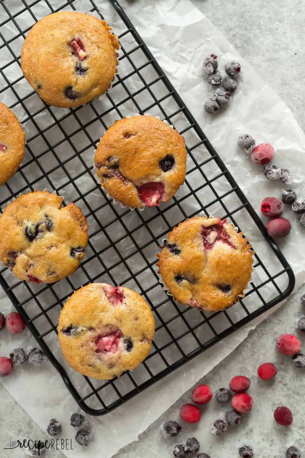 These Fruit Explosion Muffins areal view on a cooling rack.