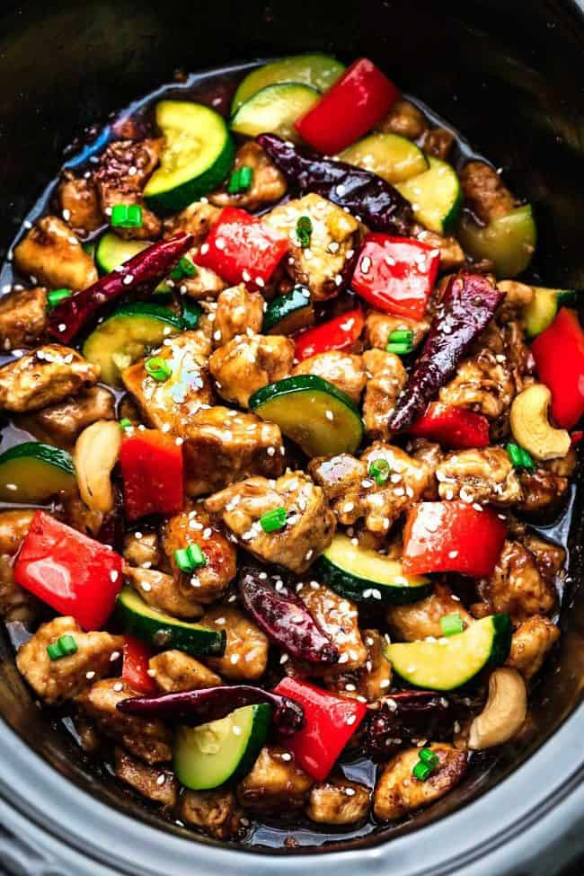 Skinny Slow Cooker Kung Pao Chicken in a slow cooker.