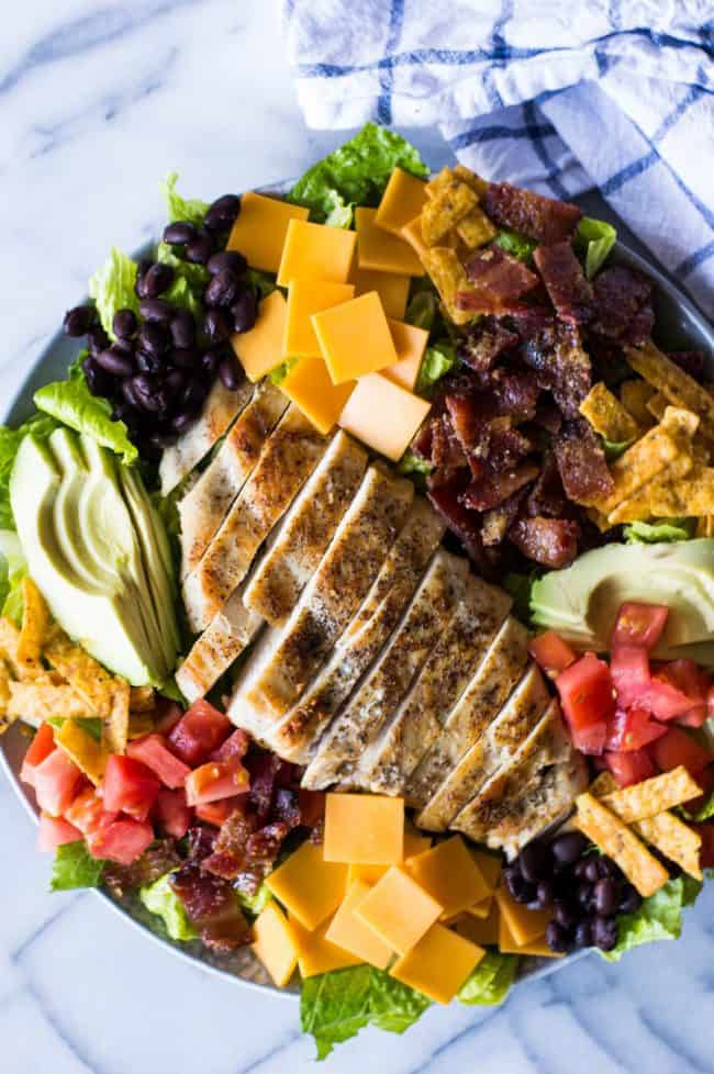 Southwest Grilled Chicken Salad with Candied Bacon ingredients.