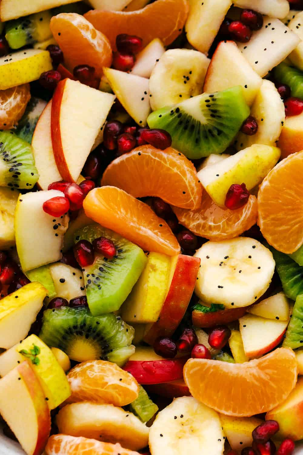 Close up of kiwi, apples, oranges, pomegranates and honey lime dressing.