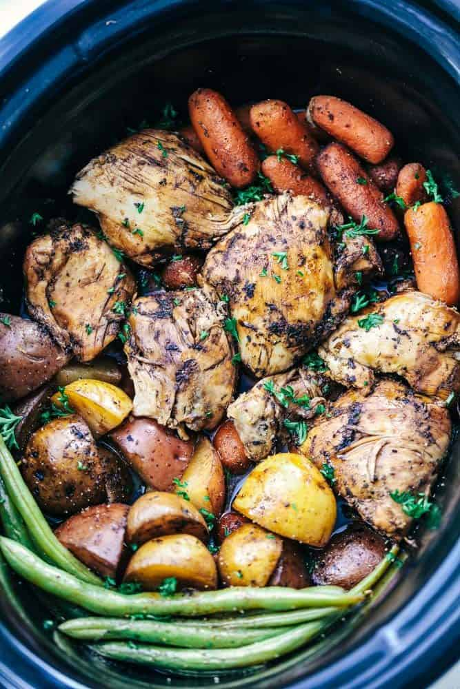 Slow Cooker Brown Sugar Balsamic Chicken and Veggies
