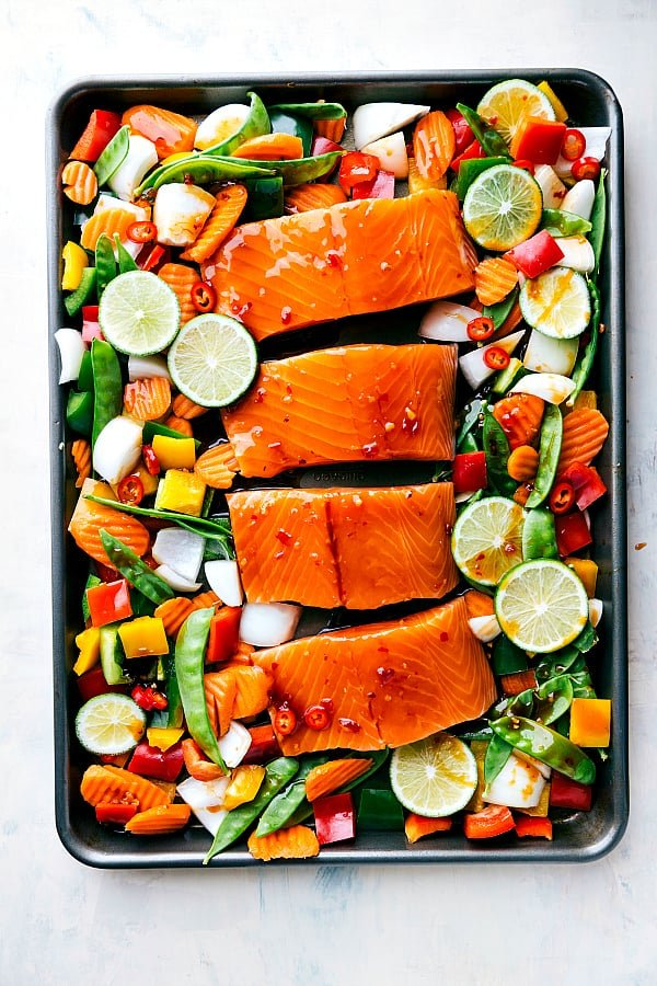 Sheet Pan Thai Glazed Salmon with Vegetables prepped to put in the oven.