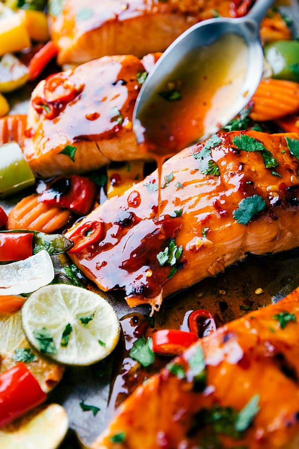 Dripping glaze on salmon.