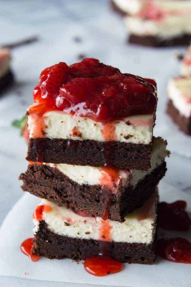Stack of Strawberry Cheesecake Brownies.