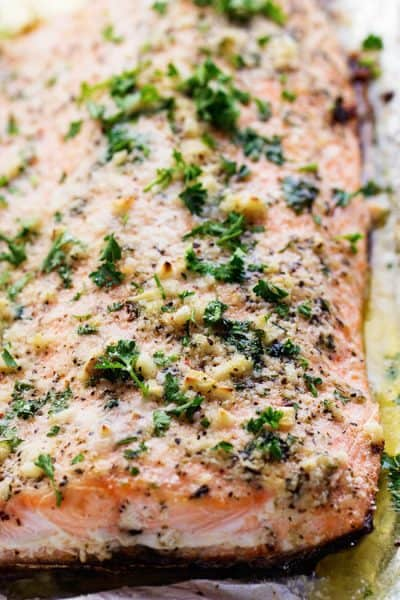 Close up on Baked Parmesan Garlic Salmon in Foil