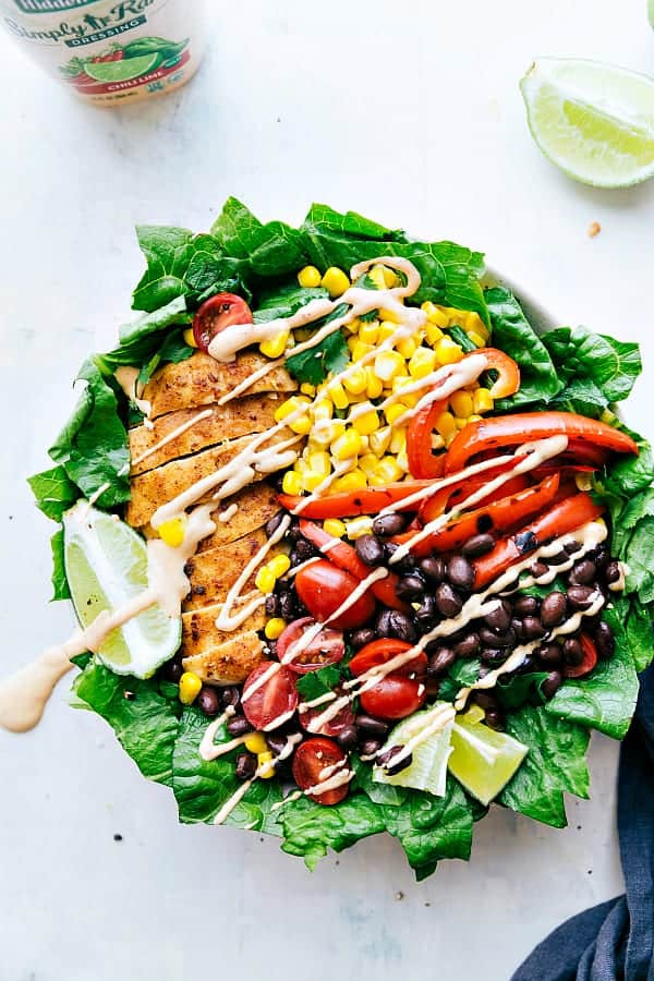 Chili Lime Chicken Salad drizzled with chili lime ranch dressing.